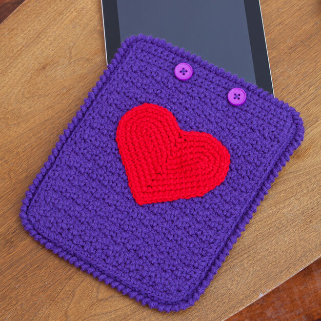 Red Heart Love My iPad Crochet Case in color
