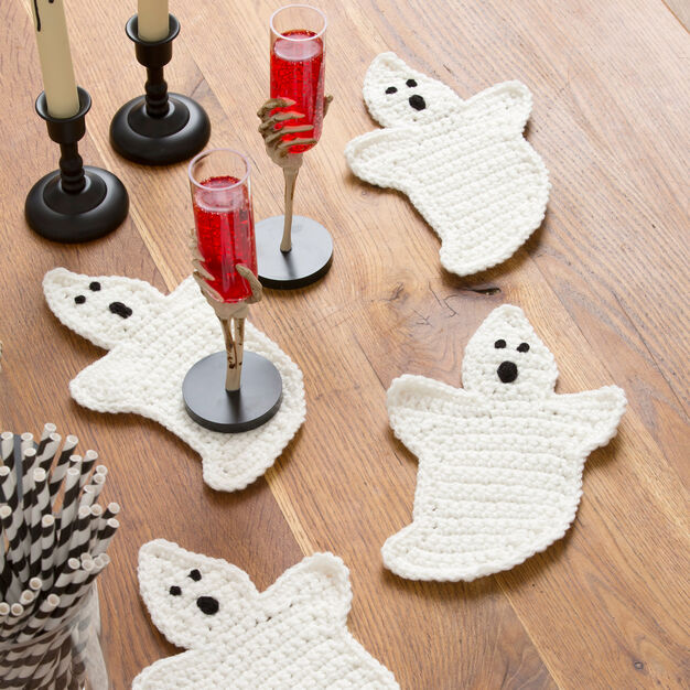 Red Heart Crochet Ghost Coasters