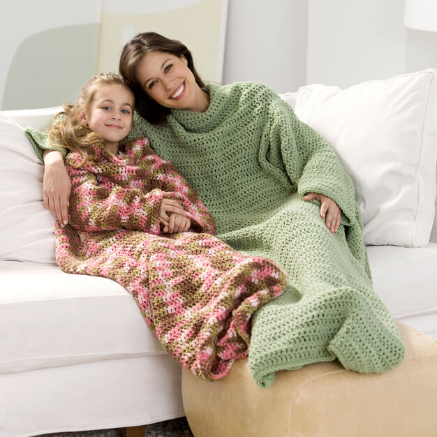 Red Heart Crochet Snuggle Up Throw with Sleeves, Child in color