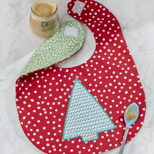 Dual Duty Holiday Baby Bib in color