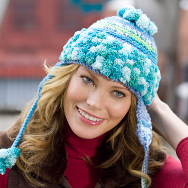 Red Heart Earflap Hat in color