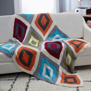 Red Heart Color Blocks Knit Throw