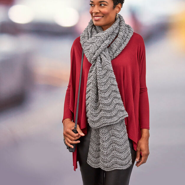Red Heart Wavy Ridge Super Scarf in color