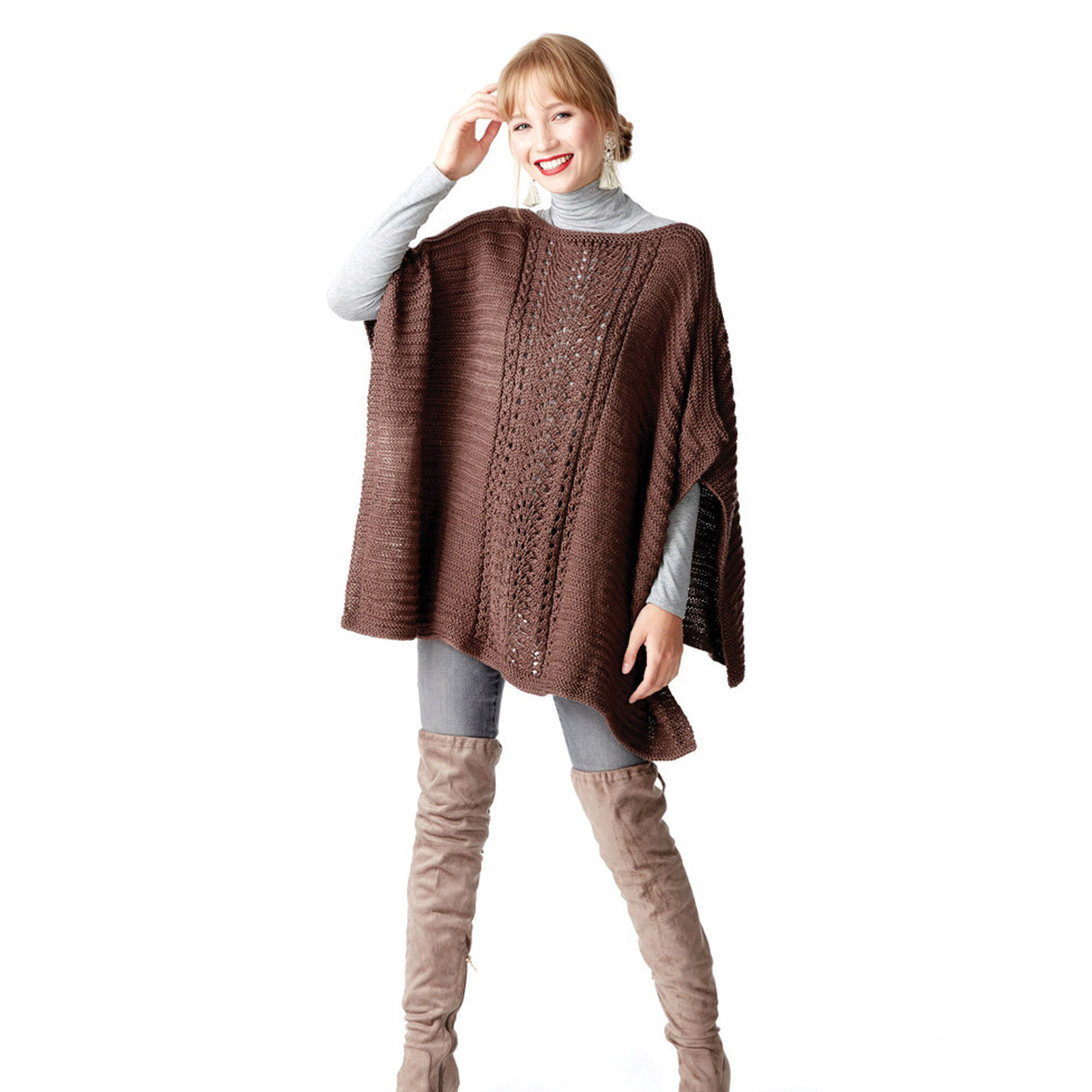 Caron Lace Panel Knit Poncho | Yarnspirations