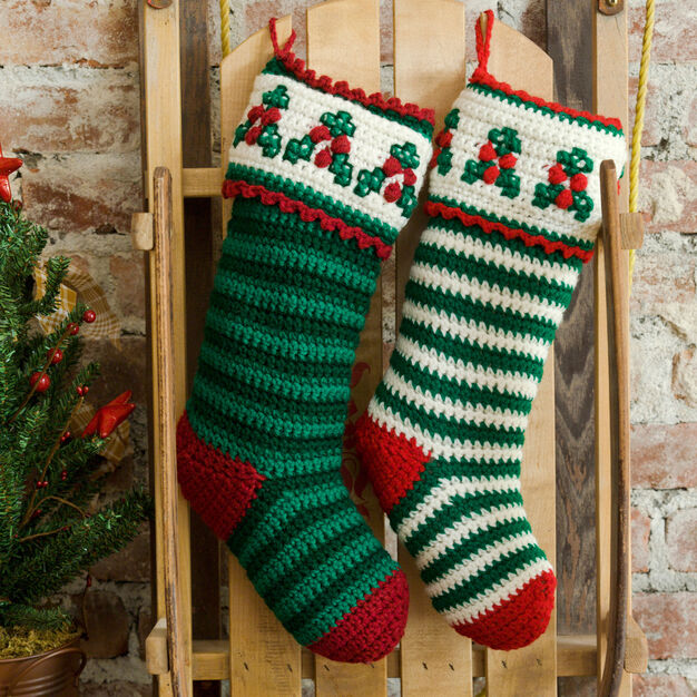 Red Heart Holly & Berry Stockings in color