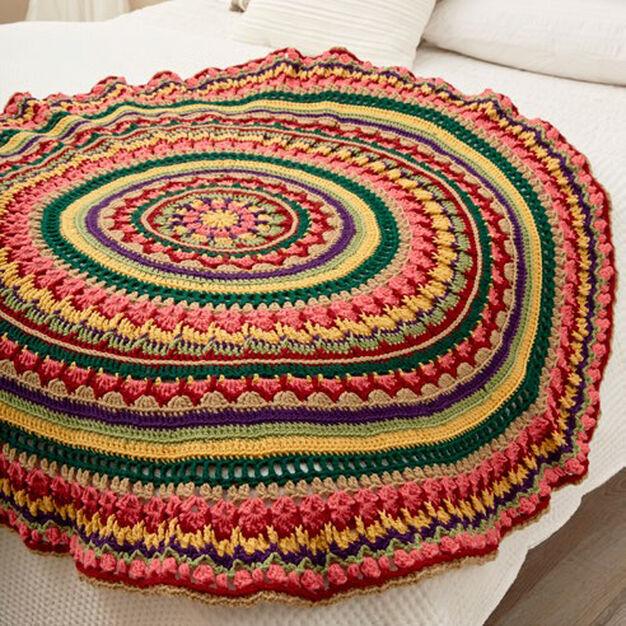 Red Heart Circular Fall Mandala Throw