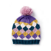 Caron x Pantone Knit Harlequin Hat, Version 1
