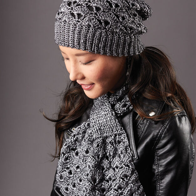 4c57990c235 Patons Silver Screen Hat and Scarf Set