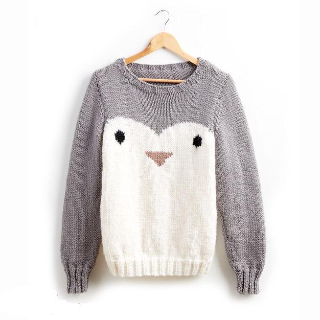 Patons Penguin Knit Holiday Sweater Xs S Yarnspirations
