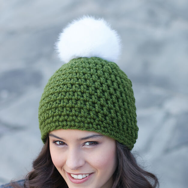 Bernat Quick Pompom Hat in color