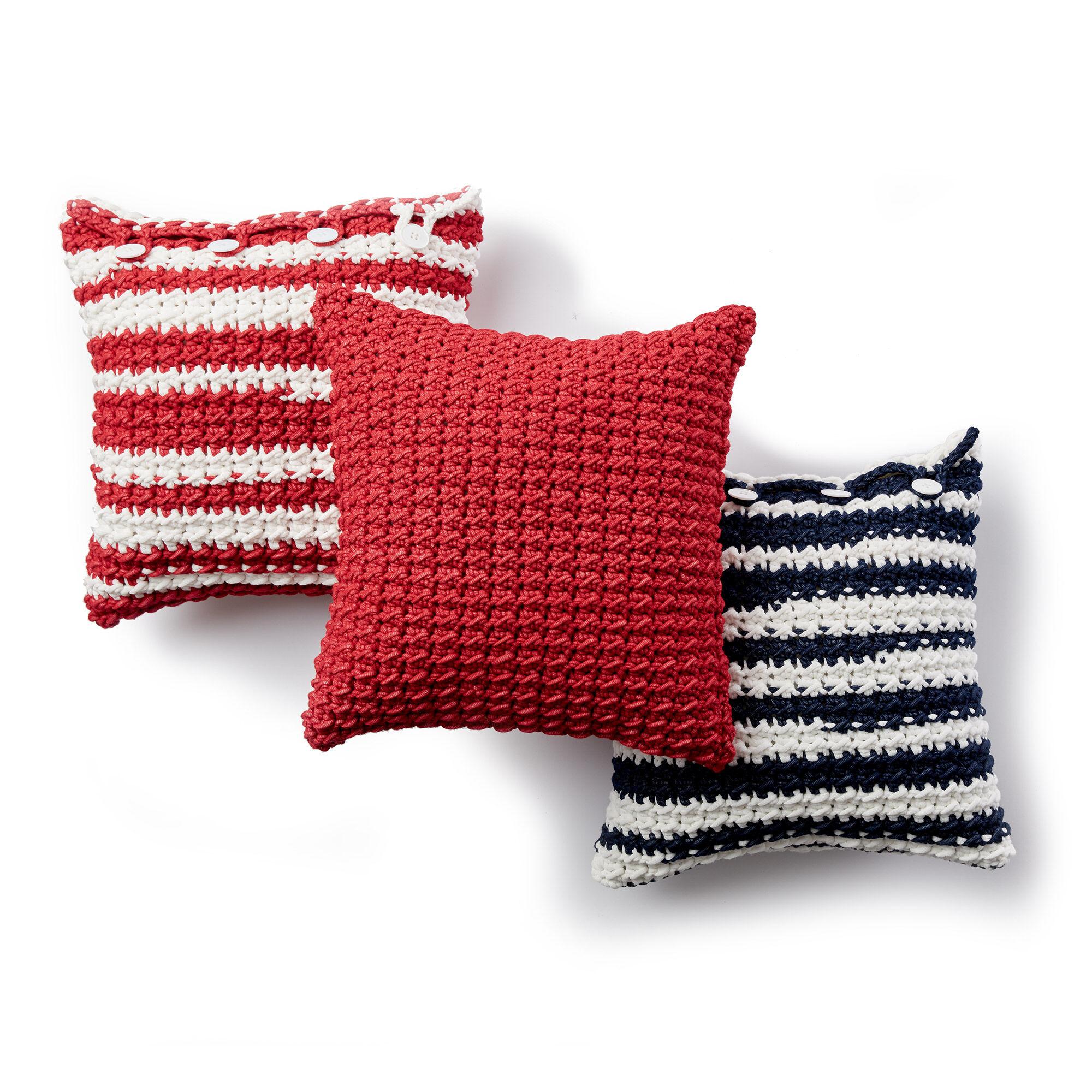 Bernat Nautical Stripe Crochet Pillows Beach Red Pattern