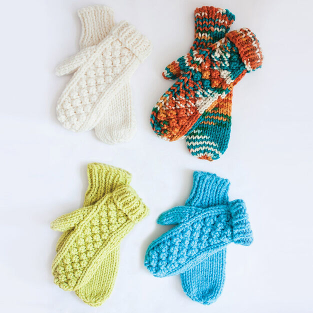 Bernat Chill Chaser Mittens, Green in color