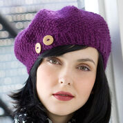 Red Heart Buttoned Beret