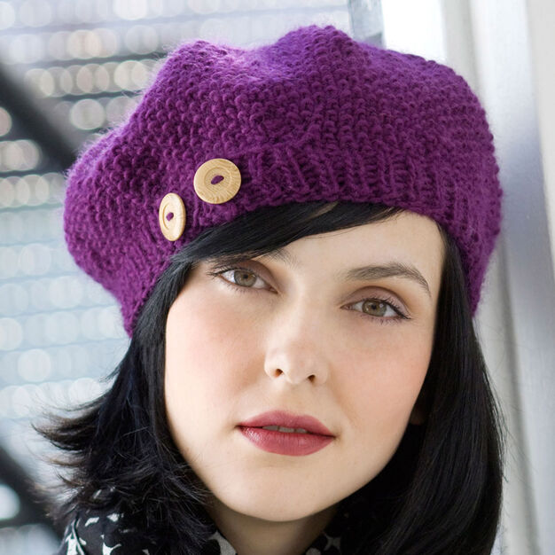 Red Heart Buttoned Beret in color