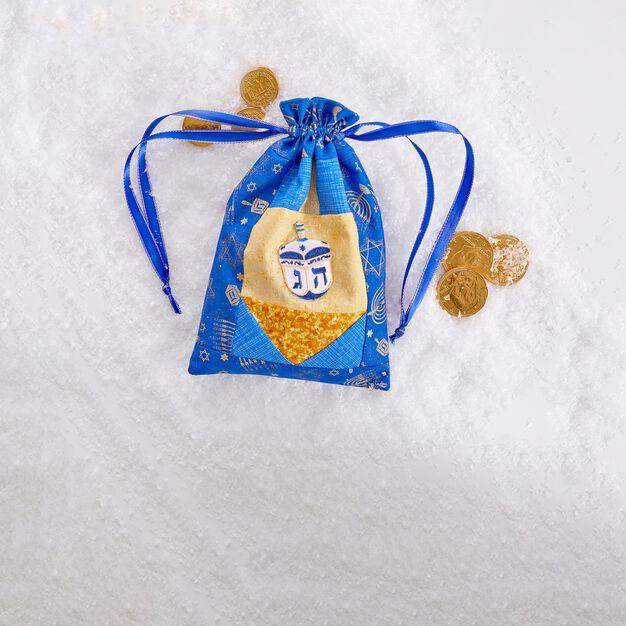 Dual Duty Hanukkah Drawstring Bag in color