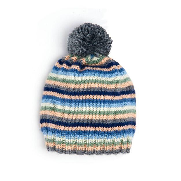 Caron Stripey Knit Hat in color