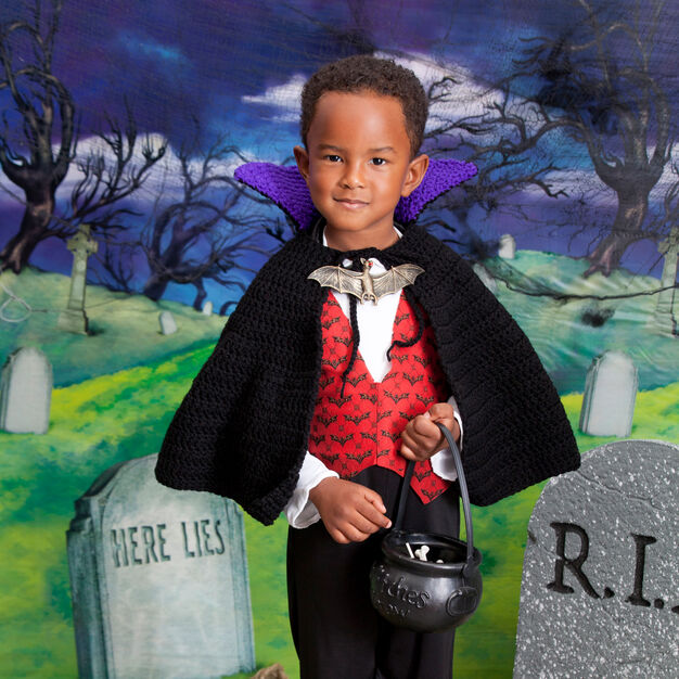 Red Heart Young Vampire Cape, 2/3 yrs in color