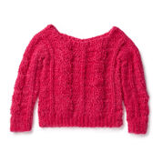 Red Heart Sweater Weather Cabled Crochet Pullover, XS/S