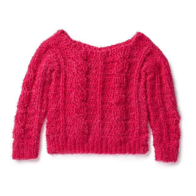 Red Heart Sweater Weather Cabled Crochet Pullover, XS/S in color
