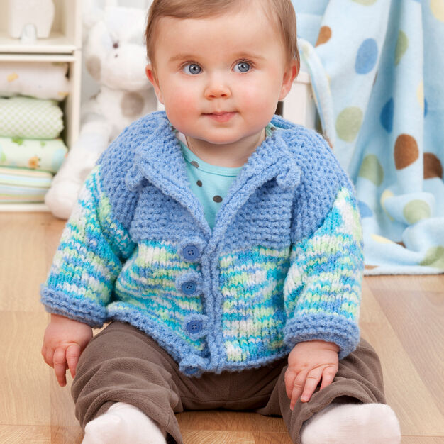 Red Heart Two-Tone Baby Cardi, 6 mos