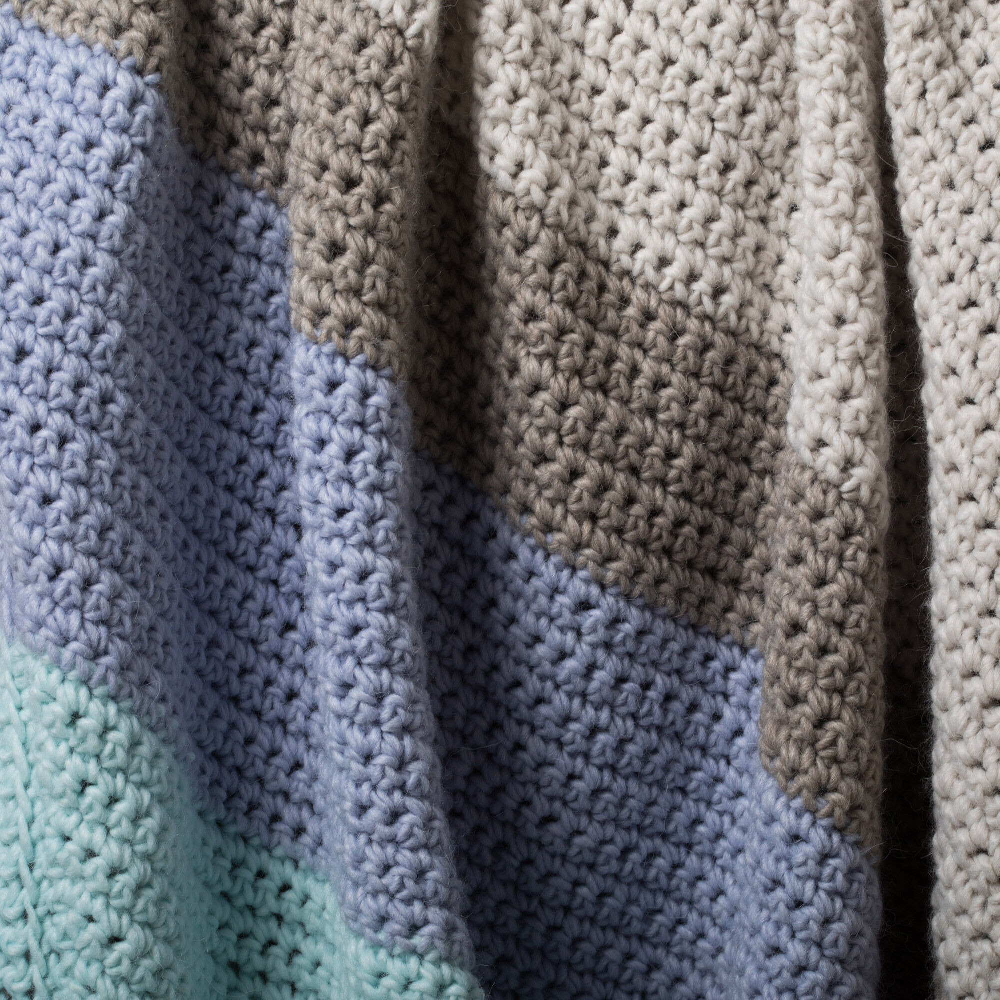 Patons Corner Dip Striped Crochet Afghan Pattern | Yarnspirations