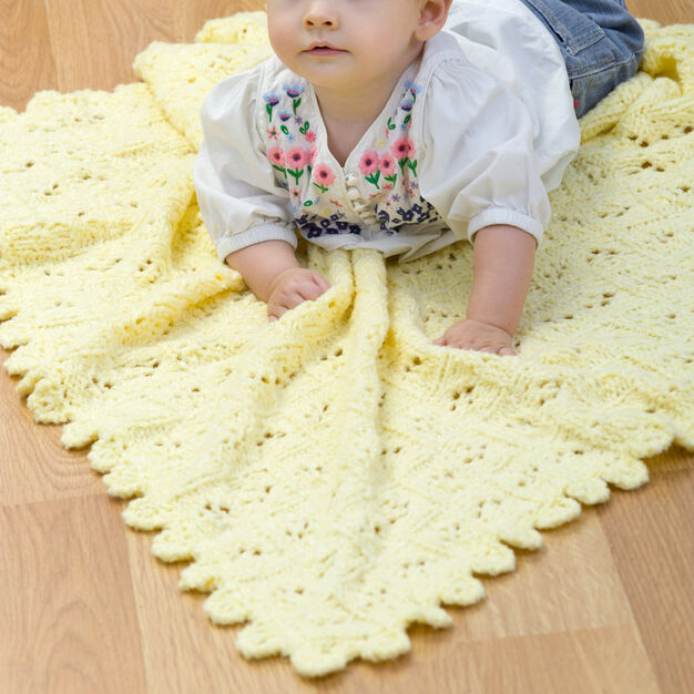 Red Heart Eyelet Baby Blanket in color