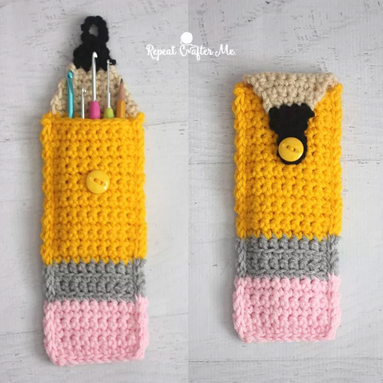 Bernat Crochet Pencil Pouch by Sarah @ Repeat Crafter Me