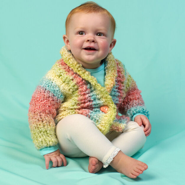 Red Heart Cuddle Up Baby Cardi, 6 mos in color