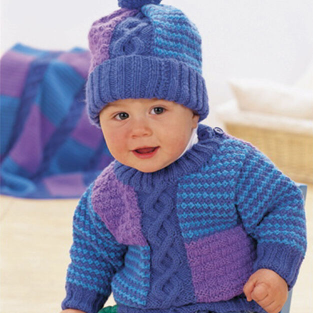 Patons Cables & Checks Set, Pullover - 6 mos in color