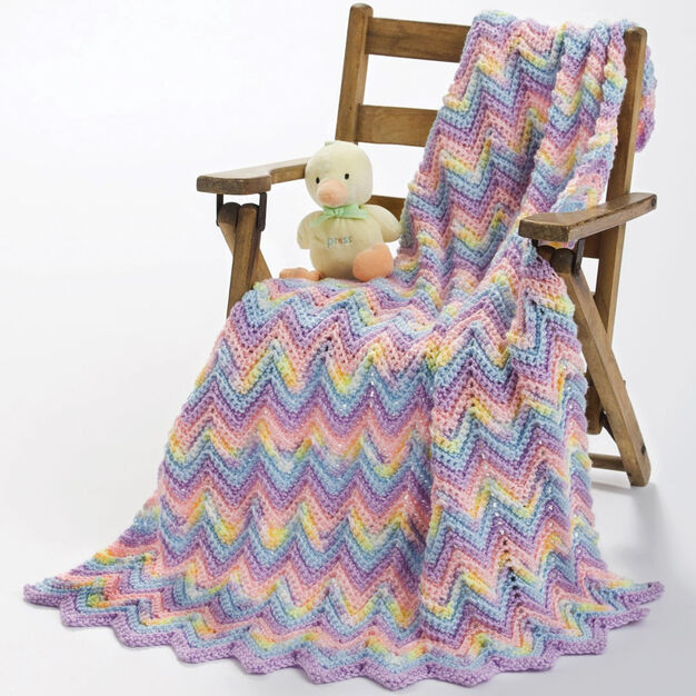 Caron Knit Ripple Baby Blanket in color