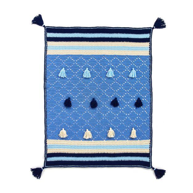 Red Heart Crochet Fringe Party Blanket in color