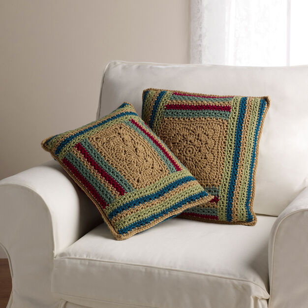 Red Heart Log Cabin Variations Pillows in color