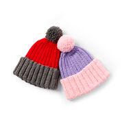Caron Color Dip Knit Child's Hat, Smoke/Tomato