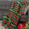 Red Heart Plaid Christmas Blanket in color  Thumbnail Main Image 1}