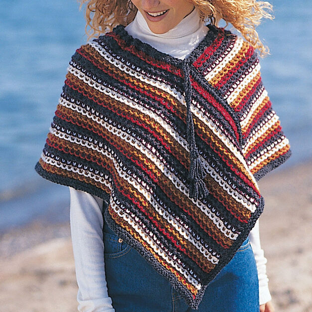 Patons Easy Rustic Stripes Poncho