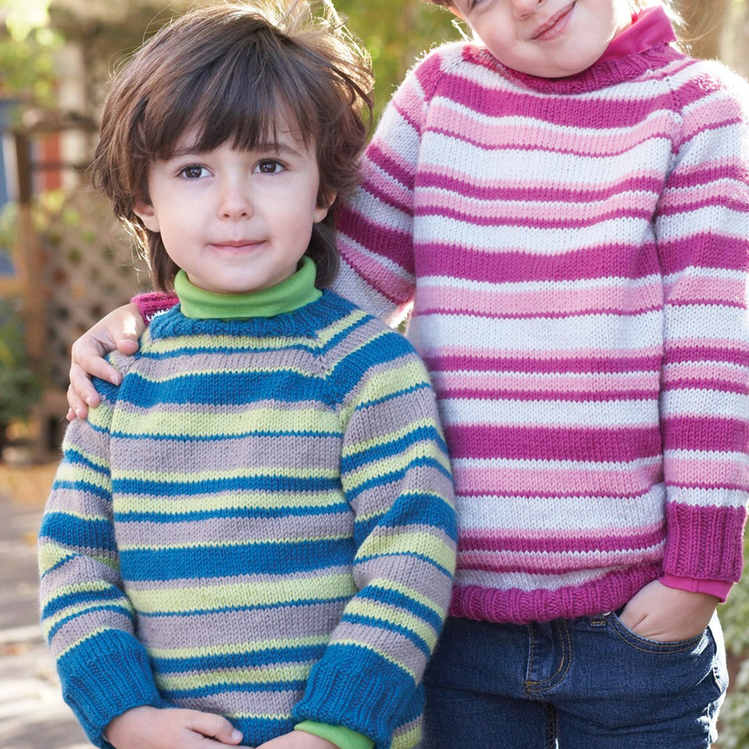 Patons Kids Top Down Striped Sweater, Boy 4 yrs