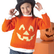 "Go to Product: Bernat ""Very Scary"" Pullovers, Jack-O'-Latern - 2 yrs in color"