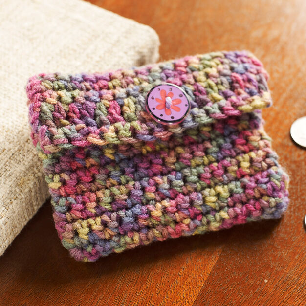 Red Heart Crochet Change Purse in color