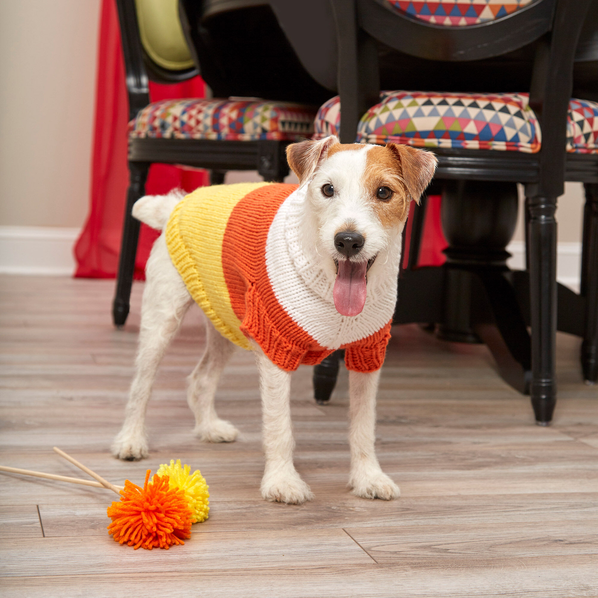 RED HEART CANDY CORN DOG SWEATER