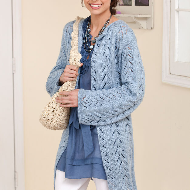 Caron Long & Lacy Knit Jacket, S in color