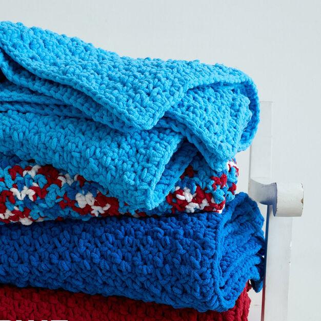 Bernat Pebble Stitch Throw, Royal Blue