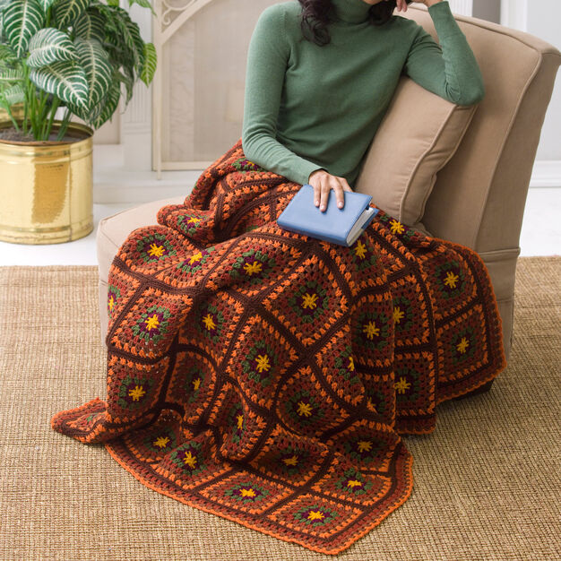 Red Heart Autumn Beauty Throw