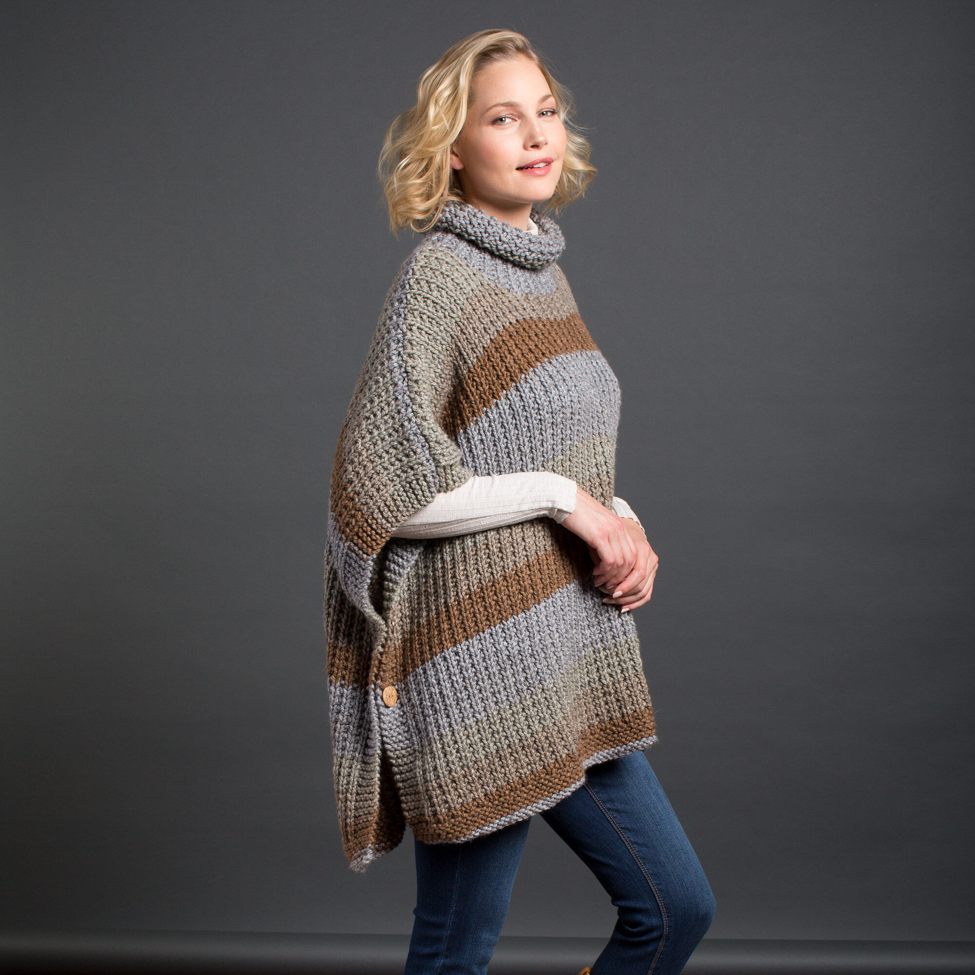 f7e7e15c8 Caron Cozy Up Knit Poncho Pattern | Yarnspirations
