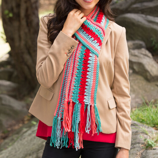 Red Heart Bright Stripes Scarf in color