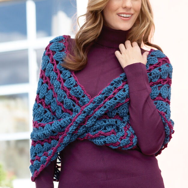 Caron Lace Infinity Cowl in color