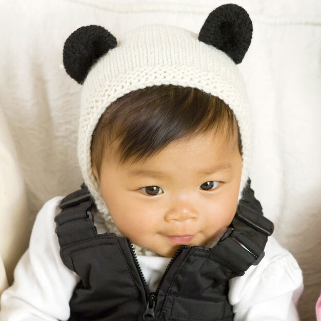 Red Heart Panda Cub Hat & Mitts, Newborn in color