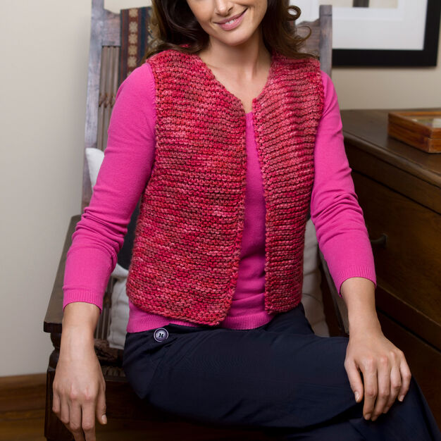 Red Heart Easy Going Vest, S in color