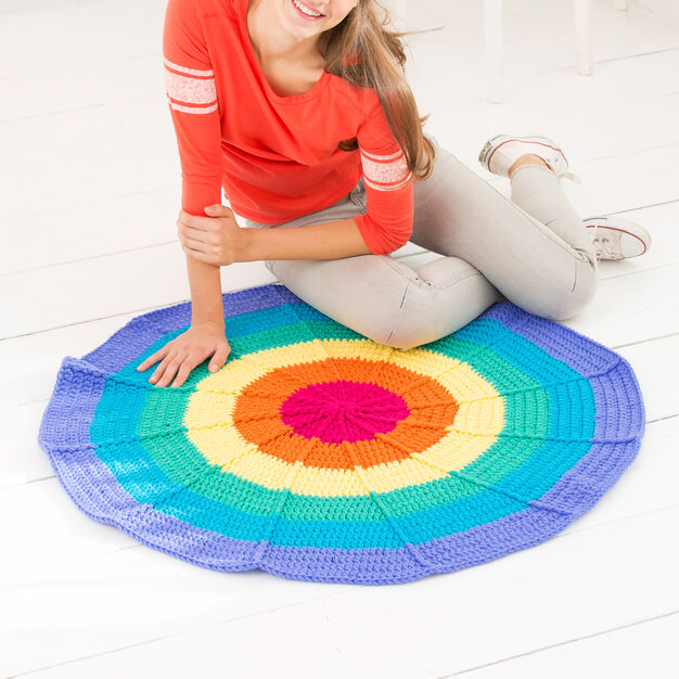 Red Heart Rainbow Rug in color