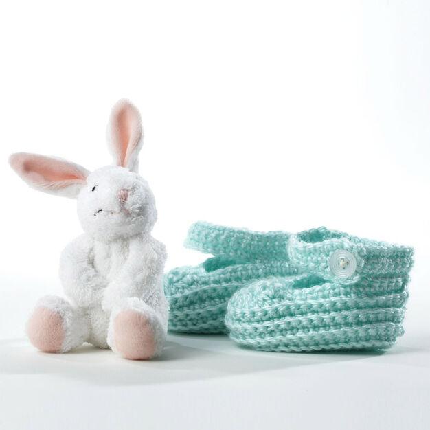 Bernat Crochet Booties, 12-18 mos in color