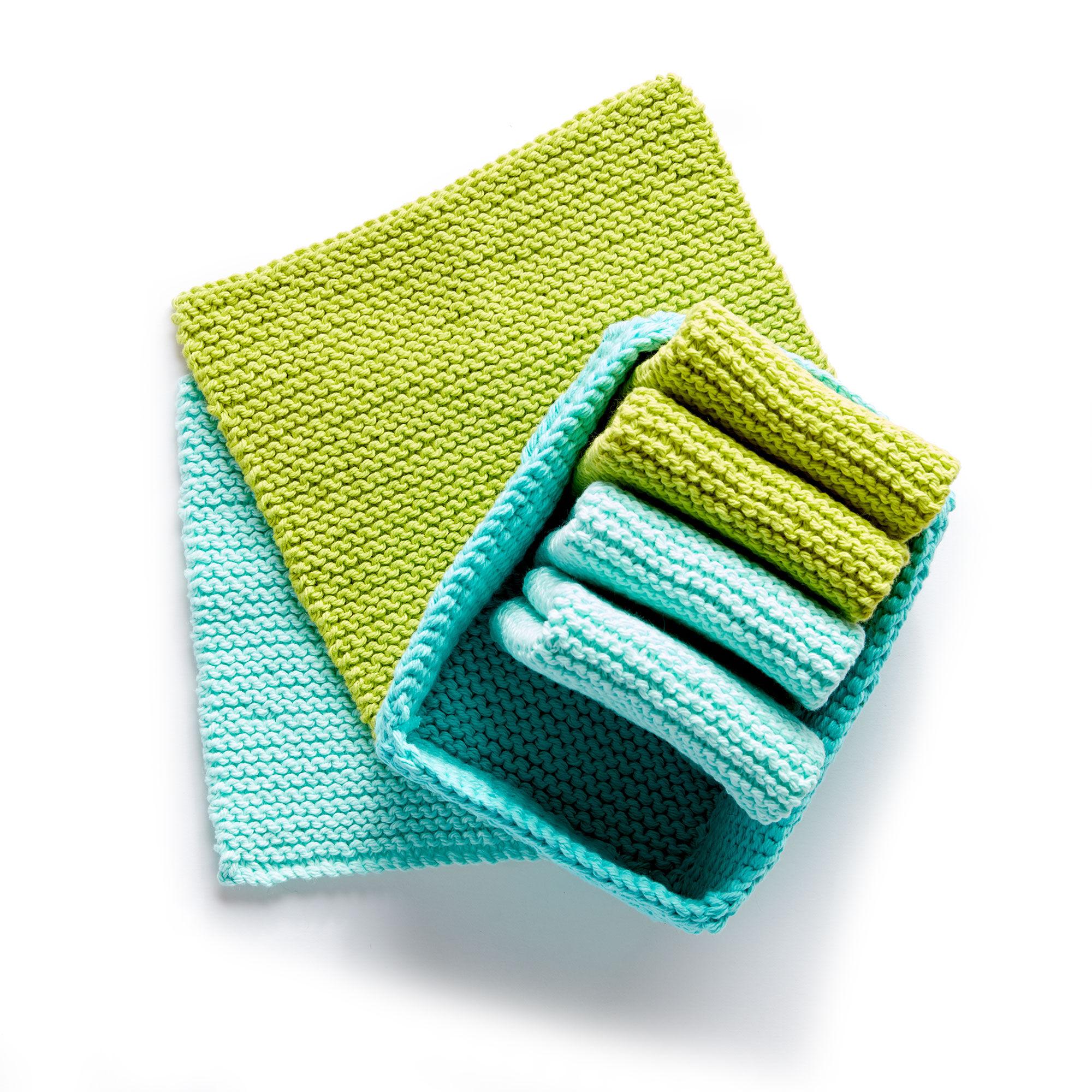 Lily Sugar\'n Cream Tidy Up Knit Dishcloth and Basket | Yarnspirations